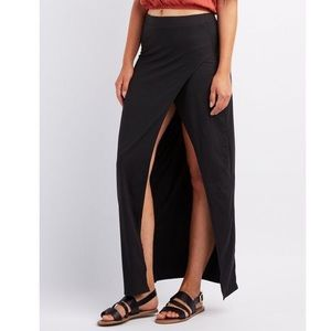 Charlotte Russe black maxi skirt with side slit